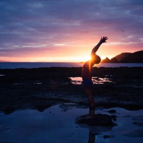 Brand Photography and Portrait Session, a sunrise photoshoot at the beach with Ingrid Yoga by lolamedia.co.nz